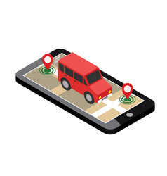 Isometric location mobile geo tracking map vector