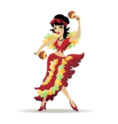 Latina beautiful girl dancing with maracas vector image