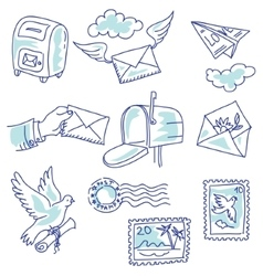 Postage set vector image