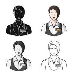 Restaurant waitress with a badge icon in cartoon vector