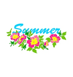 round frame isolated with summer flowers in vintag vector image vector image
