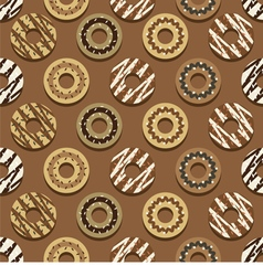 Seamless pattern different style chocolate donuts vector