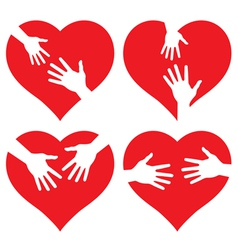 set of icons Hands on Heart vector image vector image