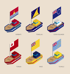 set of isometric ships with flags of oceania vector image vector image