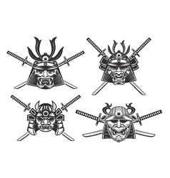 set of the samurai helmets with swords isolated vector image