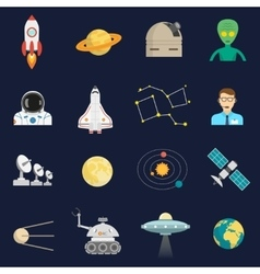 Space cosmos flat icons set vector