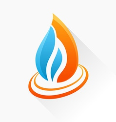 Symbol fire orange and blue flame glass icon with vector