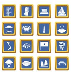 Vietnam travel icons set blue vector