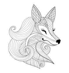Zentangle fox face in monochrome doodle style hand vector