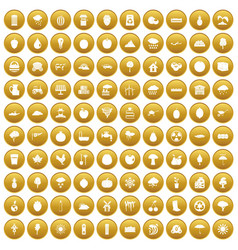 100 fruit icons set gold vector