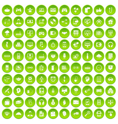 100 programmer icons set green circle vector image vector image