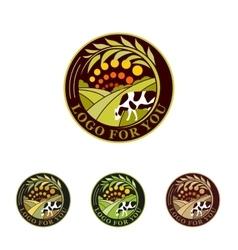 Farm isolated green logo collection rural vector
