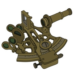 Vintage brass sextant vector image