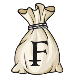 Money Bag with Swiss franc Symbol vector image