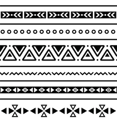 Aztec seamless pattern tribal black and white bac vector image