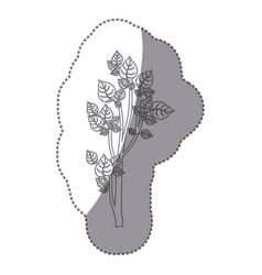 Sticker gray color small leafy tree forest icon vector