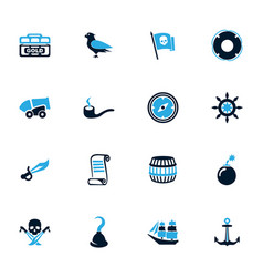 Pirates icons set vector