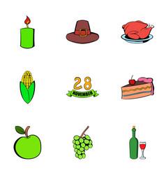 Thanks icons set cartoon style vector