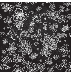 Seamless pattern of doodles flowers vector image