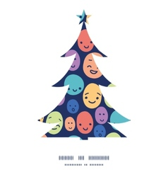 Funny faces christmas tree silhouette pattern vector