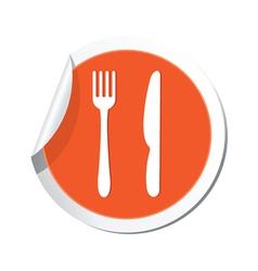 knife AND fork ORANGE LABEL vector image