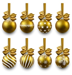 Set of realistic golden christmas balls vector