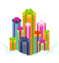 Isometric colored gift boxes vector