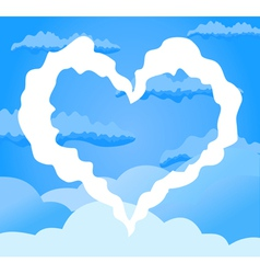 white heart clouds vector image