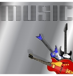 Rock musical background with guitar vector