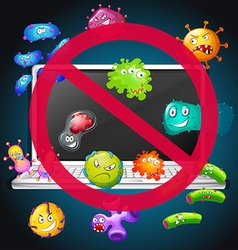 No bacteria sign on computer vector