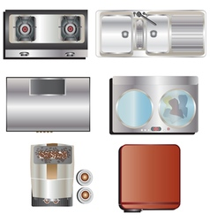 Kitchen equipment top view set 8 vector