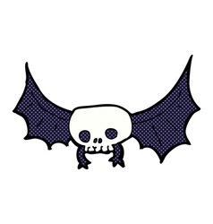 Comic cartoon spooky skull bat vector