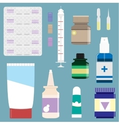 Medicine supplies used in pharmacology set vector