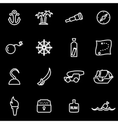 Line pirate icon set vector