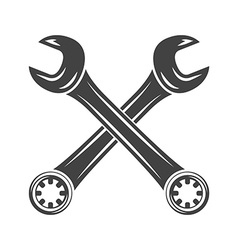 Two crossed spanners black on white flat logo vector