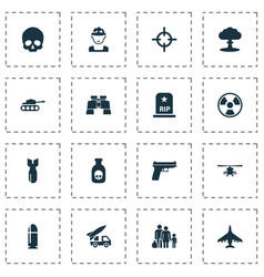 Army icons set with cranium chopper military and vector