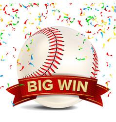 baseball award red ribbon big sport game vector image vector image
