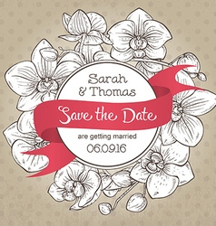 Beautiful elegant wedding invitation with orchid vector image