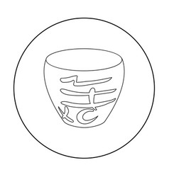 Bowl icon in outline style isolated on white vector