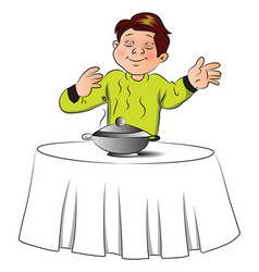 boy smelling the food on table vector image