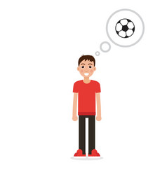 boy thinking about soccer character vector image vector image