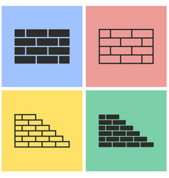 brick wall icon set vector image vector image