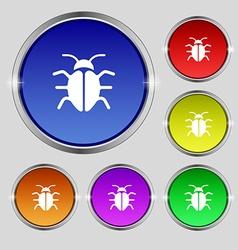 Bug virus icon sign round symbol on bright vector
