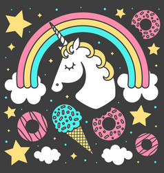 Composition with unicorn and rainbow vector