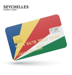Credit card with Seychelles flag background for vector image vector image