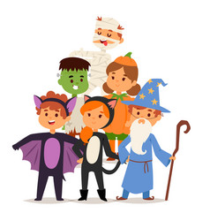 cute kids wearing halloween party costumes vector image vector image