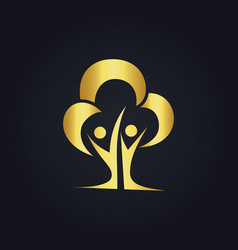 Eco tree people gold logo vector