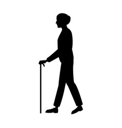 Elderly people with cane walking silhouette vector