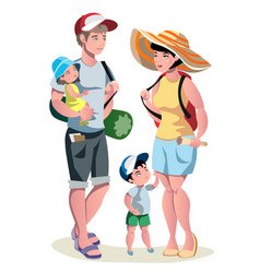 Family vacation with children and suitcases vector