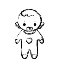 Figure baby boy with pacifier and hairstyle vector